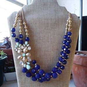 Cobalt Blue Beaded Rhinestone Flower Necklace